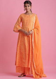 #orange #readymade #anarkali #suit #stylish #indian #salwar #kameez #eid #dresses #pakistani #suits #heavy #work #dupatta #ootd Orange Suit, Orange Color, Readymade Salwar Kameez, Cotton Anarkali, Pakistani Suits, Printed Cotton, Bell Sleeves, Chiffon, Kurta Palazzo