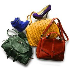 If you've got a closet full of neutrals—be they navy, black, camel, or gray—add energy with boldly hued shoes and bags. Not only is a hunter green satchel more lively than ho-hum black, but it's also surprisingly versatile. Feeling really brave? Wear a neutral base with shoes and a bag in two different complementary colors.