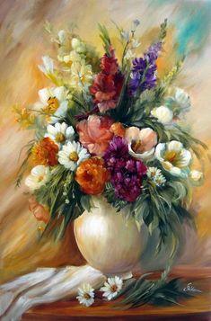 by Szechenyi Szidonia (artist) Acrylic Flowers, Oil Painting Flowers, Acrylic Art, Watercolour Painting, Watercolor Flowers, Flower Vases, Flower Art, Arte Floral, Beautiful Paintings