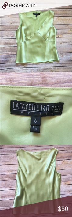 Lafayette 148 New York petite silk top 100% silk Lafayette 148 Sleeveless top. In good condition in sage green. Perfect for spring and summer. Lafayette 148 New York Tops Tank Tops