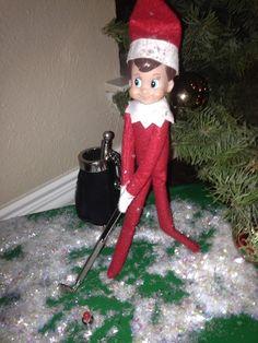 Elf on the Shelf ~ Golf anyone, using a Christmas tree ornament....
