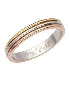 Cartier 18K Gold Trinity Tri-Tone Wedding Band, 7/10 Condition