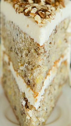 Hummingbird Cake ~ A wonderfully moist banana cake with crushed pineapple, pecans and a cream cheese frosting.