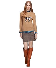An intarsia dog makes this cozy sweater quite fetching. #RedFleece pick by @sarahkjp