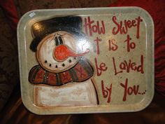 This would be cute to paint on a platter and have fired.  Snowman lunch tray