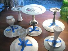 Cake Stand : These are made with epoxy, but if you use glue dots or 2 sided sticky sponge tape you can use your fancier dishes and then take them apart without destroying them. ~Vanessa :)