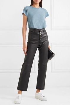 Blue slub Pima cotton-jersey Slips on Pima cotton Machine wash Designer color: Bluirn Urban Fashion, Girl Fashion, Cropped Jeans Outfit, Chic Outfits, Fashion Outfits, Looks Chic, Rag And Bone, Colorful Fashion, Her Style