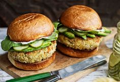 Tuna Burgers with Wasabi Mayo and Quick Cucumber Pickle    Read more: http://www.oprah.com/food/Recipes-for-Two/4#ixzz2Shvwox2b