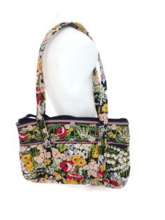 b7f67fd17db Vera Bradley Women s Poppy Fields Black Multi Floral Cotton Shoulderbag  Handbag   Clothing, Shoes  amp