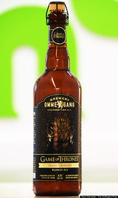 """Ommegang's first Game of Thrones beer, the Iron Throne Blonde Ale: """"A pour reveals decent head retention, minimal lacing and a floral, citrusy aroma. High amounts of carbonation kept our experts' tongues tingling through light notes of what one determined to be 'caramel bananas,' a medium-bodied, fruity, mouthfeel and a squeaky-clean finish."""""""