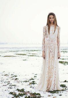 modern bohemian bridal dress