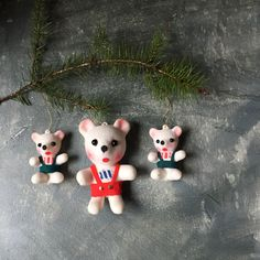 Vintage Flocked Bears: Plastic Bear Tree Ornaments, Christmas Decoration, Holiday Decor, Set of 3 Christmas Bears, Bear Family by Untried on Etsy