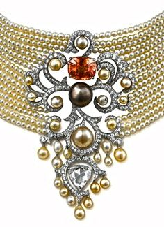 ~Orange Sapphire......Wow!!Pearl Choker with Orange Sapphire by Cartier