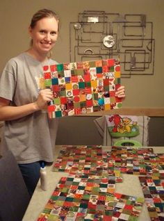 These are placements made from the Christmas cards you have received.  We make one every year using pieces of every card.