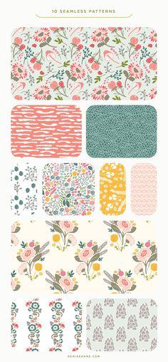 Wild Flora Patterns by Denise Anne on @creativemarket