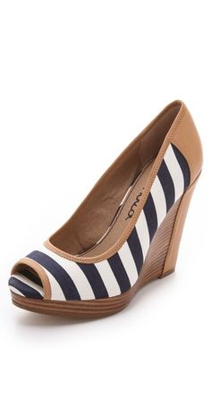 Splendid Stripe Peep Toe Wedges