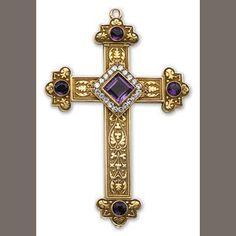 Gold, Amethyst and Diamond Cross pendant,1911