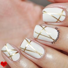 Recreate: vampire is buff and gold tape. OPI Be There in a Prosecco & MoYou London Holy Shapes 05