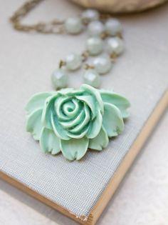 Rose Necklace Aqua Rose Pendant Necklace