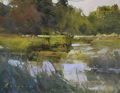 "Simon Addyman Sanctuary (or study in greens) 8x10"" oil on board"