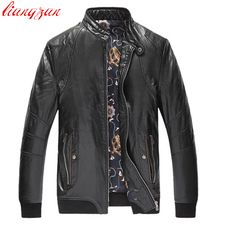 Men PU Leather Jackets Brand Winter Snow Warm Thick Jacket And Coats Male Slim Fit Big Size Motorcycle Trench Coats F2359