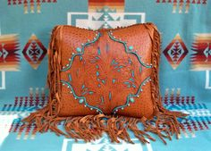 western home | Western leather pillow home decor vintage style saddle tan tooled ...