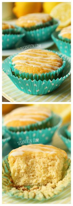 Healthier grain-free and gluten-free lemon muffins with an amazing pound cake-like texture! ////// use sugar substitute