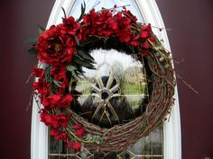 "Grapevine Door Wreath Decor.Use All Year Round...""Scarlet Elegance""..CLEARANCE SALE"