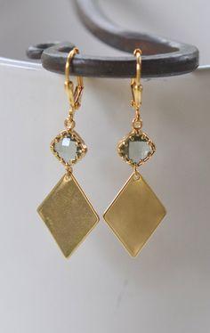 Geometrical Charcoal and Gold Dangle Earrings