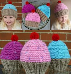 Knit Cupcake Hat Knit Toddler Hat Knit Toddler by BoPeepsBonnets Knitted Hats Kids, Knitting For Kids, Kids Hats, Crochet For Kids, Loom Knitting, Knitting Projects, Baby Knitting, Crochet Projects, Knitting Patterns