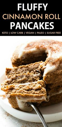 Fluffy Low Carb Keto Cinnamon Roll Pancakes (Paleo, Vegan, Sugar Free, Gluten Free)- A quick and easy recipe for Thick, fluffy flourless pancakes which taste like a cinnamon roll- Minimal ingredients, freezer-friendly and a healthy breakfast option!