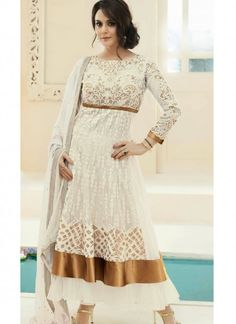Terrific Offwhite Net Anarkali Suit