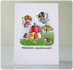 "Geburtstagskarte, Glückwunschkarte | birthday or congrats card - Lawn Fawn ""Fairy Friends"", ""Gleeful Gardens"", ""Stitched Hillside Borders"", Nellie Snellen ""Lars & Lena, deutsche Texte"", Akashiya Sai Watercolor Brush Pens, Distress Ink"