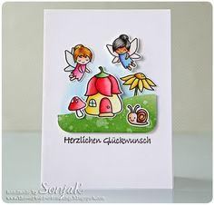 "Geburtstagskarte, Glückwunschkarte | birthday or congrats card - Lawn Fawn ""Fairy Friends"", ""Gleeful Gardens"", ""Stitched Hillside Borders"", Nellie Snellen ""Lars & Lena, deutsche Texte"", Akashiya Sai Watercolor Brush Pens, Distress Ink"