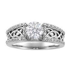 Round Diamond Celtic Knot Engagement Ring Pave Diamonds band in 14K White Gold