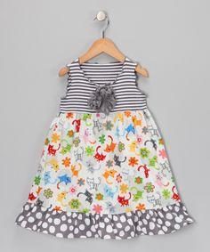 Gray Cat Ruffle Dress - Toddler & Girls
