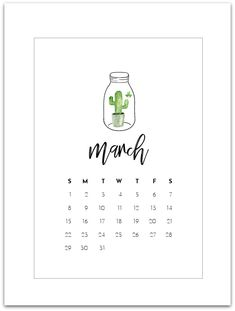 March Mason Jar Calendar Page – Free Calendar Page Printable 2020. Click here to download and print the March calendar page. Welcome to March. Almost. Technically we welcome March on Sunday. But hey, look at me getting the calendar page up early! Woot woot! Perhaps 2020 is the year I actually get my act together. …