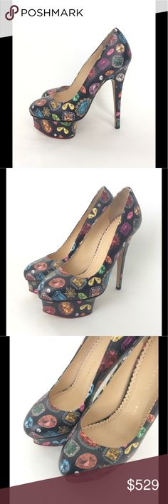 Charlotte Olympia Black Jewel Print Dolly Platform Charlotte Olympia Dolly Heel - In perfect NWT condition and as always, guaranteed authentic!  Comes new in box with dustbag. *Black *Calfskin *Jewel print *Gorgeous *Slip on *6.5 inch heel *1 3/4 inch platform *MSRP $895 Charlotte Olympia Shoes Platforms