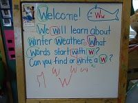 Morning Message for preschool - focusing on letter recognition and letter sounds.  I love how the teacher also had children practice writing the letter, for early writing development