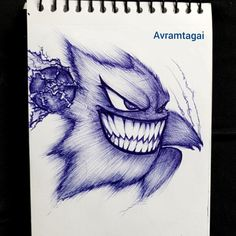 Ballpoint pen sketch of my favorite Ghost type pokemon:)