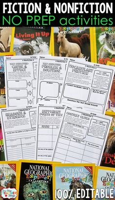 Fiction and Nonfiction Reading Activities to reinforce reading comprehension skills. Perfect for reading centers and guided readings lesson. No Prep and 100% Editable. Comparing Texts | Text Structure | Making Inferences | Context Clues | Making Predictions | Point of View | Problem and Solution | Cause and Effect | Chronological Order | Compare and Contrast