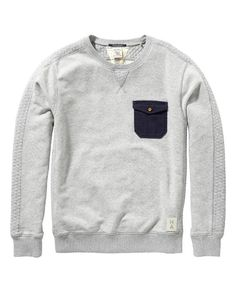 Woven detailed pocket sweater - Scotch & Soda is a brand I would recommend for you Camisa Polo, Stylish Boys, Best Mens Fashion, Mens Fall, Cool T Shirts, Creative Shirts, Men Looks, Hoodies, Sweatshirts