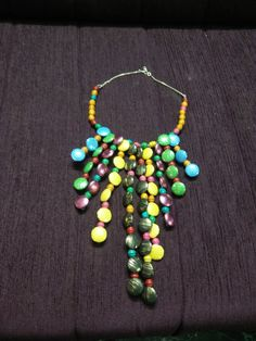 button necklace with wooden beads multi colour - unusual look
