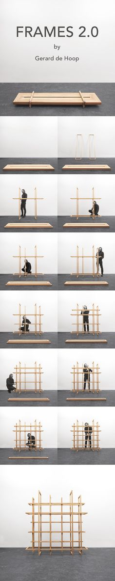 Frames 2.0 by Gerard de Hoop Grid of wooden frames, can be used as a freestanding bookcase and/or as a room divider.  The open frames deliver an exciting game of lines. Of certain viewing points, the frames seems to be floating.  The frames have different sizes and they all fit together as a flat-pack. Material: oak or Amercican ash Dimensions: h 192 x W 186 x d 39 cm
