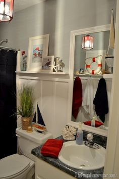 Nautical theme bathroom - love the red and navy colours together! my-perfect-house