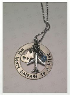 JBK My heart belongs to a pilot necklace. $35.00, via Etsy.  Jewelry By Karen Custom hand stamped necklace.