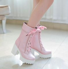 Super Kawaii High Top Pastel Pink Boots. LOVE!