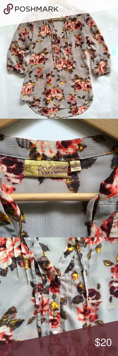 """[Princess Vera Wang] Vintage-Inspired Floral Top Semi-sheer floral victorian rose blouse from Princess Vera Wang. Gray with pink, red, white, and yellow flower pattern. Very feminine and flowy. Gathered elastic hem at sleeves. Size small. Measures approximately 17.5"""" across chest, while flat, and 26.5"""" in length from top of shoulder to front bottom hem. Vera Wang Tops Blouses"""