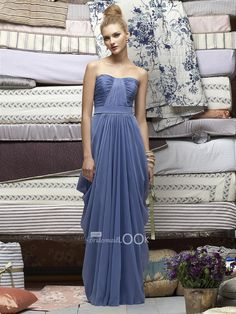 dark blue long bridesmaid dress with draped bodice and pleated skirt