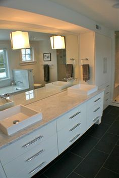 Marble with dark rectangular tile floors - Cohasset III - Contemporary - Bathroom - Boston - Artisan Kitchens LLC